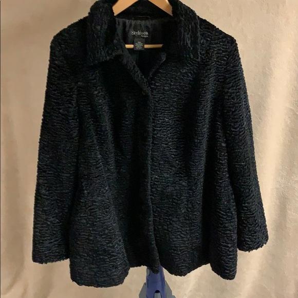Style & Co Jackets & Blazers - Black crushed velvet dress coat